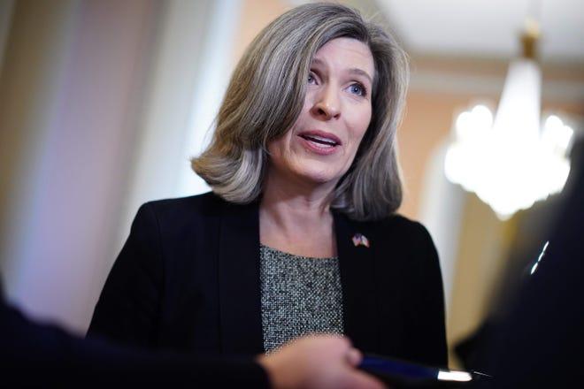 Sen. Joni Ernst, R-Iowa, speaks in Washington, D.C., in February.