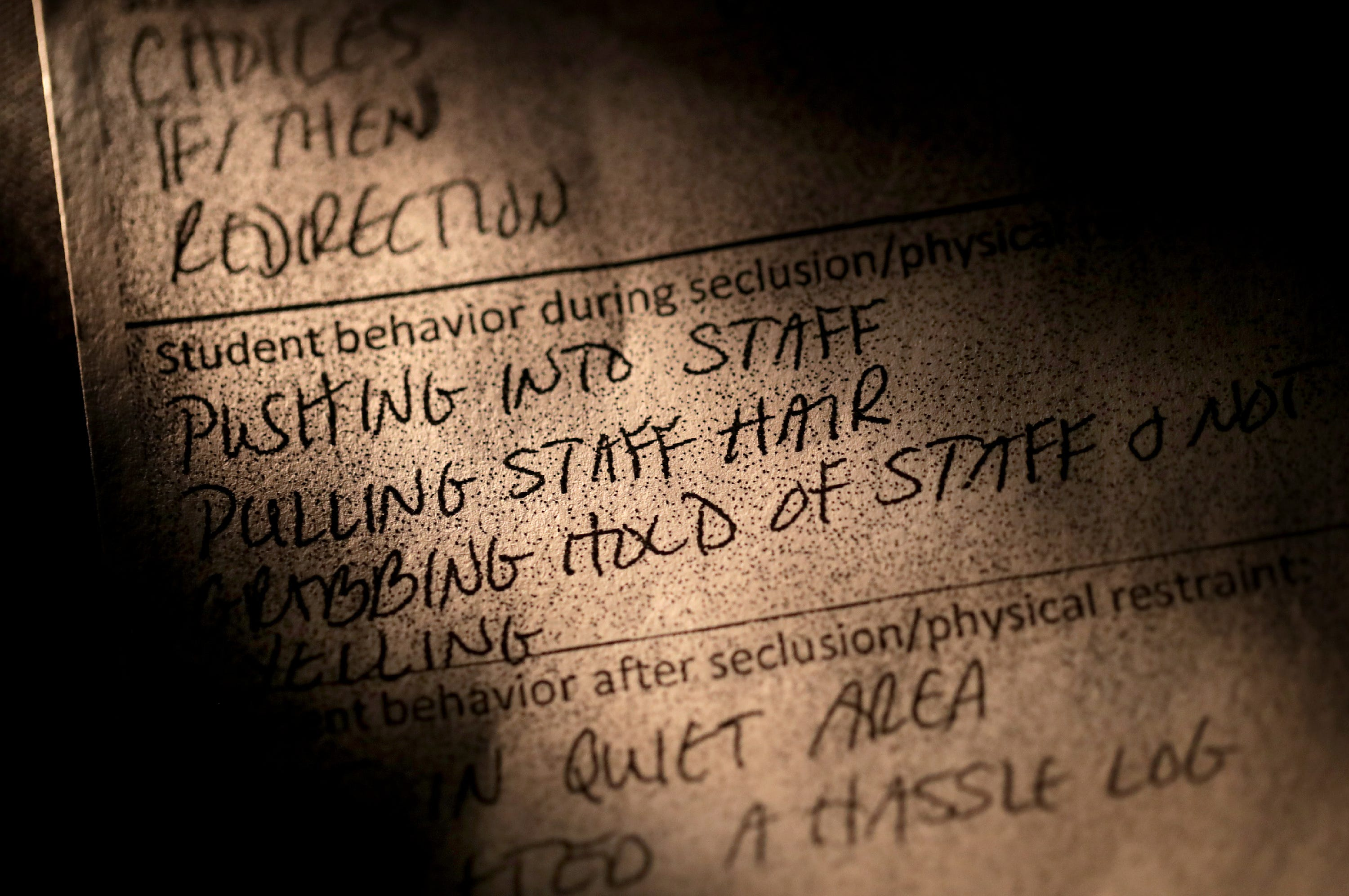 Wisconsin school districts are required by law to inform parents or guardians that a report is available to them after an incident of seclusion or restraint. But Amber McGinley says reports like these, photographed Feb. 4, are often incomplete, don't align with what teachers or administrators tell her in person or over the phone and often don't give a full explanation of what led her son to melt down.
