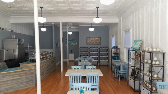 Calming hues and ornate ceilings at High Tide Tea Co. in Ocean Grove.