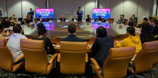 New Jersey Attorney General Gurbir Grewal addresses panelists and students at Kean University's anti-Semitism forum on Thursday, Jan. 30, 2020.