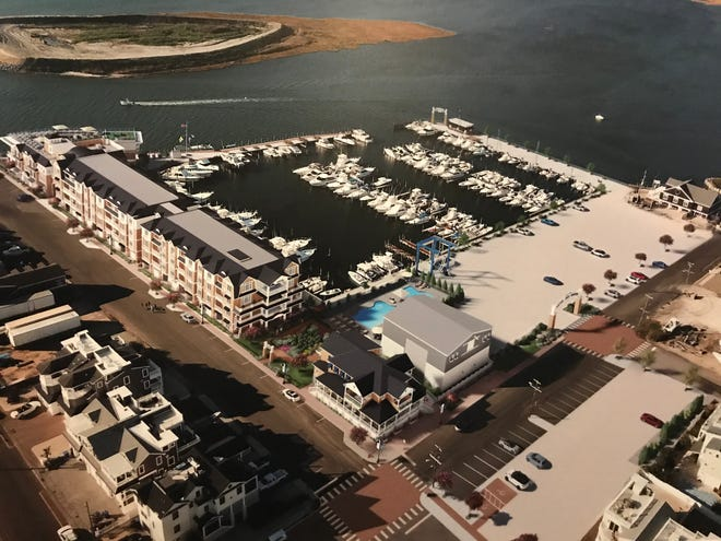An architect's rendering shows the proposed Beach Haven Hotel and Marina on Pennsylvania Avenue and Second Street in Beach Haven.