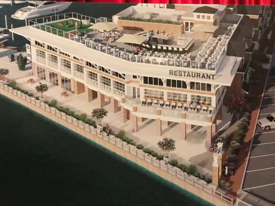 An architect's rendering shows the proposed 400-seat restaurant and rooftop bar attached to the Beach Haven Hotel and Marina. The proposal is being considered by the Beach Haven Land Use Board.