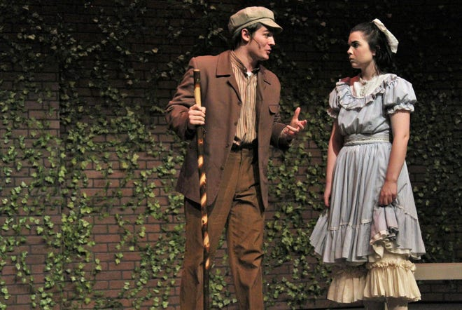 """Dickon (Jake Hamilton) talks with Mary (Shelby Walker) near the wall to the garden in this rehearsal scene from """"The Secret Garden,"""" Hardin-Simmons University's musical. It opens Thursday and continues through Sunday."""