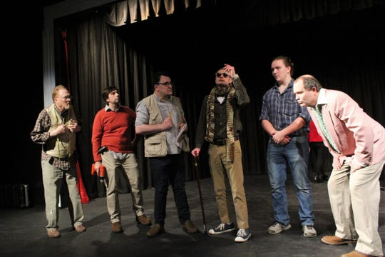 """Peter Quince (Pierce LoPachin, with cane) meets with his community theater board to discuss their next production, with the cast speaking the lines of Shakespeare's """"A Midsummer Night's Dream."""" From left are: Robin Starveling (Scot Miller), Snug (Timothy Chipp), Tom Snout (Adam Singleton), Francis Flute (Anakin Belk) and Nick Bottom (Darrell Vinson)."""