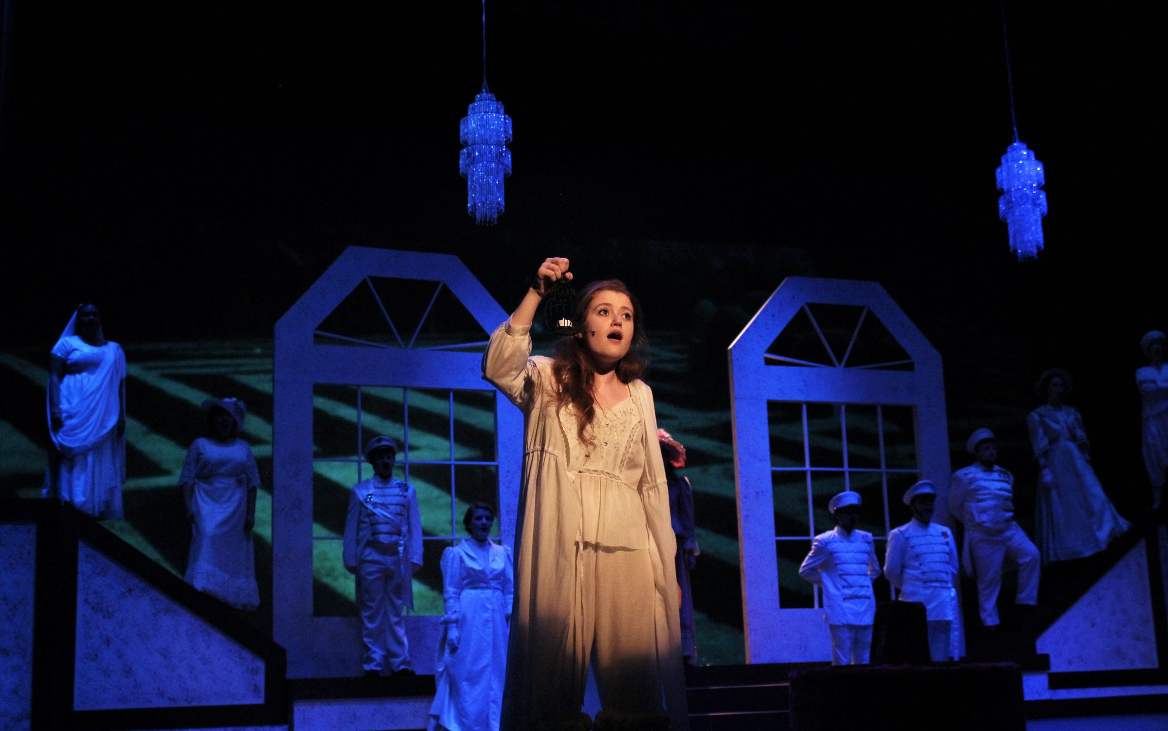 """Mary (Maddie Lowry) searches the mansion for the source of the voice she hears in the night in this rehearsal scene from """"The Secret Garden,"""" Hardin-Simmons University's musical that's on stage through Sunday. Lowry, a Wylie High grad, is sharing the lead role of Mary with Shelby Walker, a Cooper High grad."""