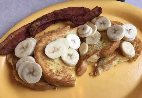 Sourdough Banana French Toast at Free Range Pancake  House in Marshall
