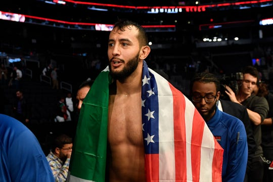 Oct 18, 2019; Boston, MA, USA; Dominick Reyes walks out of the ring after defeating Chris Weidman (not seen) in a light heavyweight bout during UFC Fight Night at the TD Garden. Mandatory Credit: Bob DeChiara-USA TODAY Sports