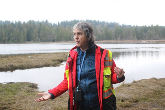 Leslie Banigan, a senior environmental health specialist with Kitsap Public Health District, talks about water quality monitoring on the banks of the Burley Lagoon in South Kitsap.