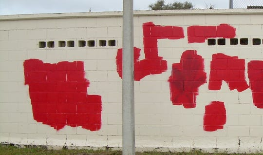 """Vandalism at Rockledge High and nearby Taylor Park included """"vulgar"""" and drug-related imagery and derogatory language toward school staff."""