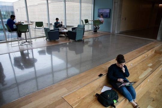 Del Mar College students sit in a lounge in the new General Academic and Music Building on Tuesday, Feb. 4, 2020.