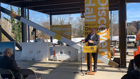 Senate President Steve Sweeney gives remarks about Discovery Hall and the expansion of Rowan University during the beam-signing ceremony on the college's Glassboro campus Feb. 3, 2020.