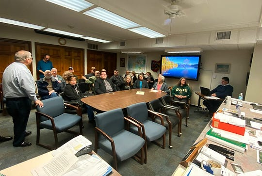 Community members began filling the Ross County Commissioners' meeting room one hour before the session began. The majority of the crowd opposed a Second Amendment sanctuary resolution in Ross County but some gun rights activists were in attendance.