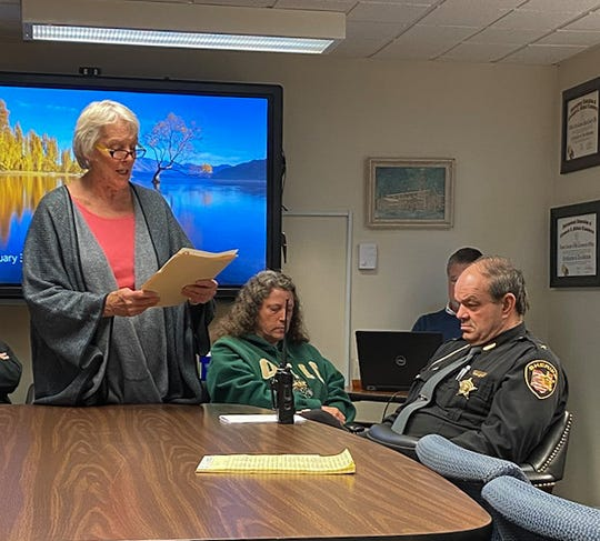 League of Women Voters President Bart Henshaw reads a letter supporting legislation to improve background checks and other gun control measures to the Ross County Commissioners, on Monday, February 3, 2020.
