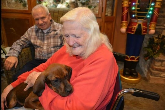 A senior cuddles one of the puppies brought in by The Kindness Objective for a holiday party at the Tennessee State Veterans' Home in Clarksville.