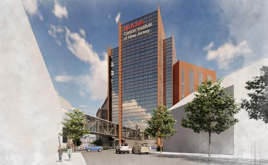 A rendering of the proposed expansion of Rutgers Cancer Institute of New Jersey.