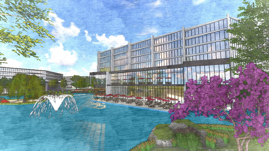 The project will include a new bus terminal and commuter parking garage, mixed-use buildings, hotel, tech center, and on site medical services office.