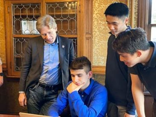 Congressman Tom Malinowski with the 2020 Congressional App Challenge winners: Noah Bergam,  Julian Lee and Justin Li
