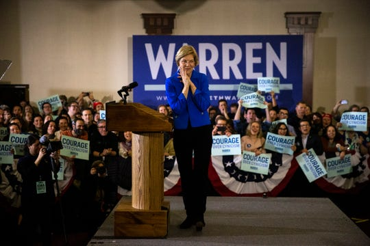U.S. Sen. Elizabeth Warren addresses the crowd at her caucus night party Feb. 3 at Forte in downtown Des Moines.