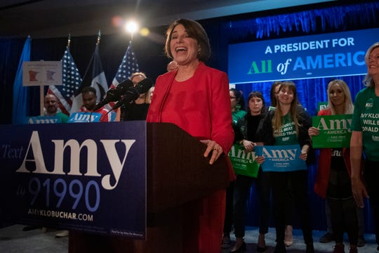 U.S. Sen. Amy Klobuchar speaks on Feb. 3, 2020 at the Des Moines Marriott Downtown during a watch party awaiting Democratic caucus results.