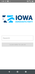 Screenshot of the front page of the smartphone app the Iowa Democratic Party wanted precincts to use to send caucus data.