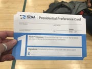 For the first time ever, Democratic caucusgoers in Iowa will record their first and second preferences on these cards with signatures.
