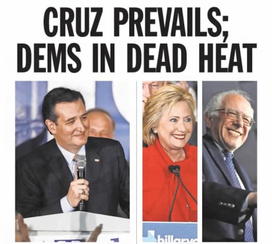 The Feb. 2, 2016 front page of the Des Moines Register.