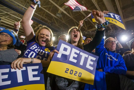 Pete Buttigieg supporters cheer at his Iowa Caucus Watch Party event inside Drake University on Monday, Feb. 3, 2020, in Des Moines, Iowa.