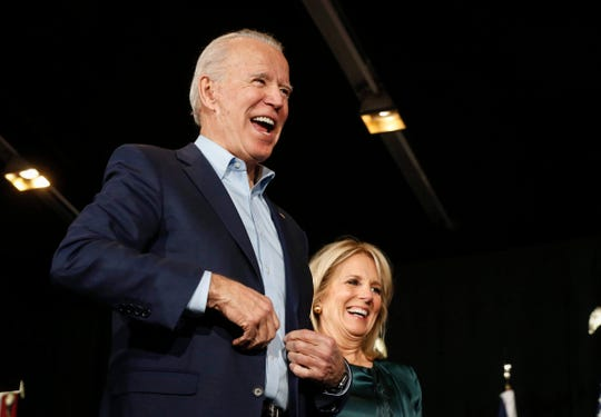 Vice President Joe Biden is joined on stage by his wife, Dr. Jill Biden, as he speaks to supporters at the Olmstead Building at Drake University in Des Moines on Feb. 3.