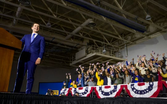 Former South Bend Mayor and democratic presidential hopeful Pete Buttigieg speaks to supporters at his Iowa Caucus Watch Party event inside Drake University on Monday, Feb. 3, 2020, in Des Moines, Iowa.