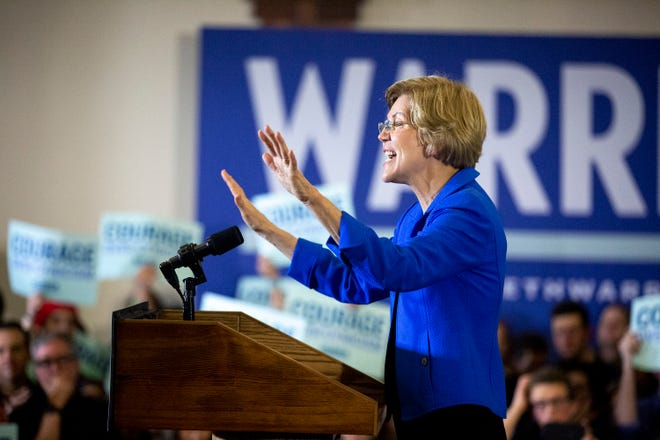 U.S. Sen. Elizabeth Warren, D-Mass., addresses the crowd at her caucus night party on Monday, Feb. 3, 2020, at Forte in downtown Des Moines, Iowa. At the time of her speech results of the caucuses were still unknown.