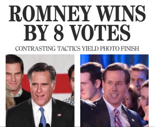 The Jan. 4, 2012 front page of the Des Moines Register declared U.S. Sen. Mitt Romney the winner of the Iowa caucus.