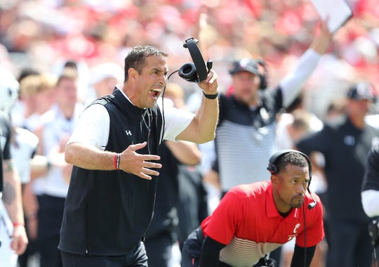 Cincinnati coach Luke Fickell reacts during the second half against Ohio State at Ohio Stadium, Sept. 7, 2019.