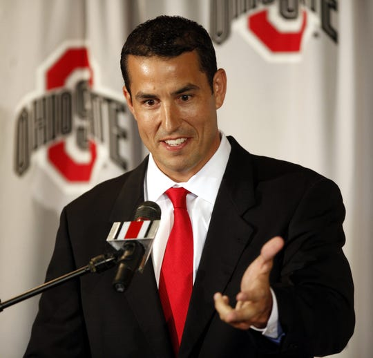 Ohio State coach Luke Fickell answer questions during a news conference Monday, June 13, 2011, in Columbus, Ohio.