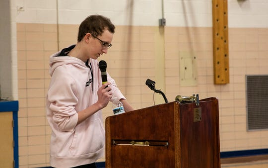Daniel Ament, 17, had a double lung transplant due to vaping related injuries. As a recent alumni, Ament spoke to students Tuesday, Feb. 4, 2020 at Our Lady Star of the Sea elementary/middle school in Grosse Pointe Woods about making better choices and the dangers and risks of vaping.