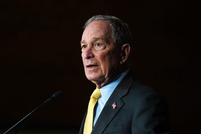 Democratic presidential candidate Mike Bloomberg speaks to a crowd at The Eastern in Detroit on Tuesday, February 4, 2020 during a campaign stop.