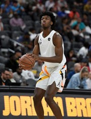 James Wiseman warms up at halftime of the Jordan Brand Classic boys high school all-star game at T-Mobile Arena on April 20, 2019 in Las Vegas, Nev.