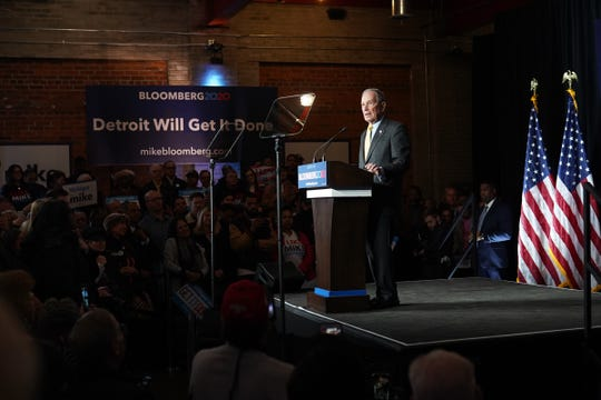 Democratic presidential candidate Mike Bloomberg speaks to a crowd at The Eastern in Detroit on Tuesday, February 4, 2020.