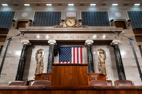 The chamber of the House of Representatives is seen at the Capitol in Washington, Monday, Feb. 3, 2020, as it is prepared for President Donald Trump to give his State of the Union address Tuesday night.