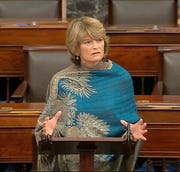 In this image from video, Sen. Lisa Murkowski, R-Alaska, speaks on the Senate floor about the impeachment trial against President Donald Trump at the U.S. Capitol in Washington, Monday, Feb. 3, 2020. The Senate will vote on the Articles of Impeachment on Wednesday afternoon.