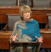 In this image from video, Sen. Lisa Murkowski, R-Alaska, speaks on the Senate floor about the impeachment trial against President Donald Trump at the U.S. Capitol in Washington, Monday, Feb. 3, 2020.