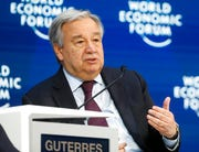 United Nations Secretary-General Antonio Guterres attends a session during the World Economic Forum in Davos, Switzerland, Thursday, Jan. 23, 2020.