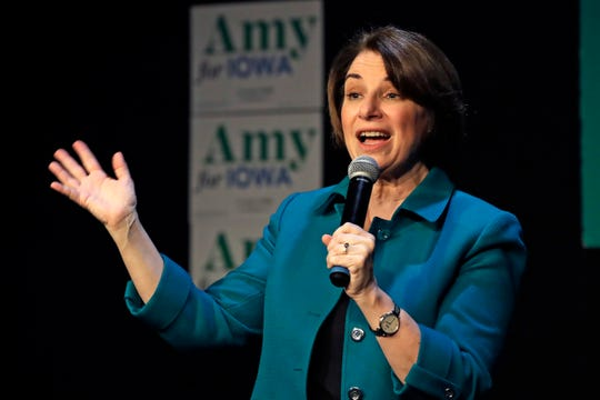 Democratic presidential candidate Sen. Amy Klobuchar, D-Minn., addresses a gathering in Sioux City, Iowa, Saturday, Feb. 1, 2020.