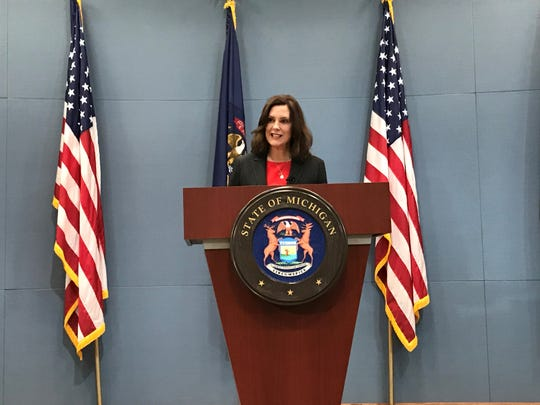 Gov. Gretchen Whitmer speaks to the media ahead of her Tuesday, Feb. 4, 2020 response to President Donald Trump's State of the Union address.