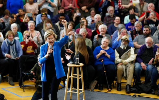 Democratic presidential candidate Sen. Elizabeth Warren, D-Mass., speaks during a campaign rally Saturday, Feb. 1, 2020, in Iowa City, Iowa.