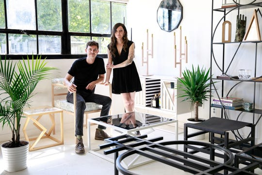 Andrew Arrison and Alex Rosenhaus pause for a portrait in the Ferndale showroom of their furniture business, Alex Drew & No One.  The name is an ode to the two finally owning their own business and being their own bosses.
