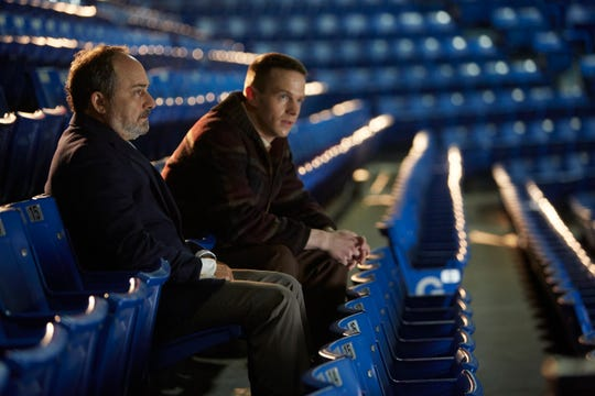 Kevin Pollack, left, plays the role of Red Wings general manager Jack Adams and Mark O'Brien, right, plays the role of Red Wings goalie Terry Sawchuk in 'Goalie,' which opened in 10 theaters in Metro Detroit on the weekend.