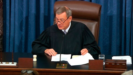 In this image from video, presiding officer Chief Justice of the United States John Roberts speaks as closing arguments in the impeachment trial against President Donald Trump begin in the Senate at the U.S. Capitol in Washington, Monday, Feb. 3, 2020.