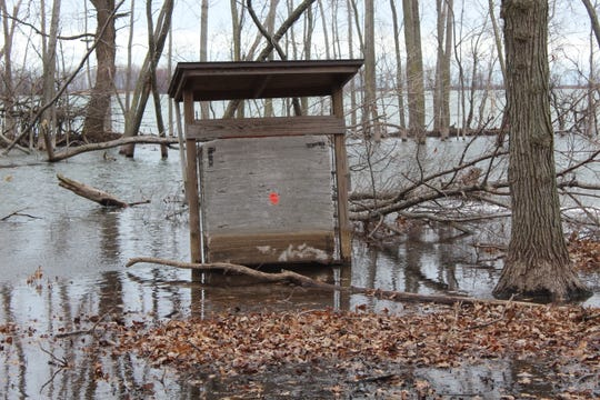 Part of East Harbor State Park's archery range was submerged Tuesday, as high waters from Lake Erie have started to cause flooding in some low-lying areas at the Ottawa County park.