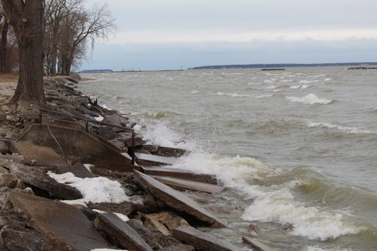 Brisk winds pushed Lake Erie's high water levels up against shoreline barriers at East Harbor State Park Tuesday. The Ohio Department of Natural Resources expects the high water levels to possibly lead to flooding and shoreline erosion at some of Ottawa County's state parks in 2020.