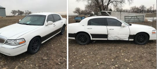 Murder suspect Efron Jose Almeida is known to drive this white 2006 Lincoln Town Car with unknown or no license plates.